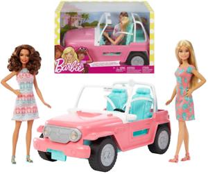 Barbie-Coffret-Poupees-et-Jeep-Cabriolet-Voiture-Convertible-Jouets-Fille-Mattel