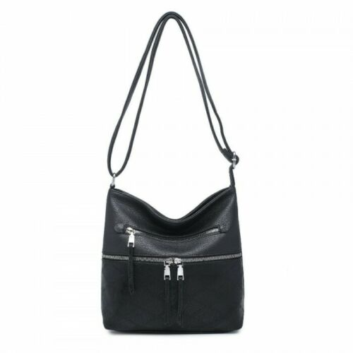Ladies Cross Over Bag Multi Compartment Bag Shoulder Messenger Body Faux Leather
