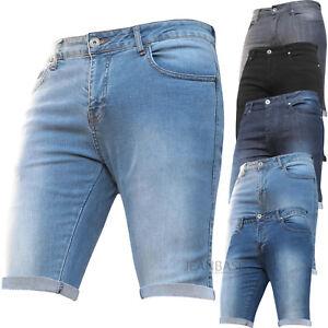 Para Hombre Pantalones De Mezclilla Stretch Slim Fit Gimnasio Liso Basico Barato Medio Jeans Pantalones De Verano Ebay