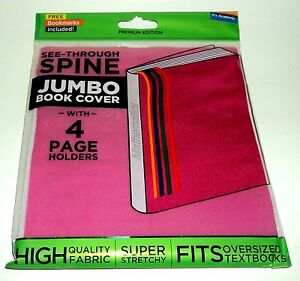 IT-039-S-ACADEMIC-See-Through-Spine-JUMBO-Book-Cover-With-4-Page-Holders-PINK-NIP