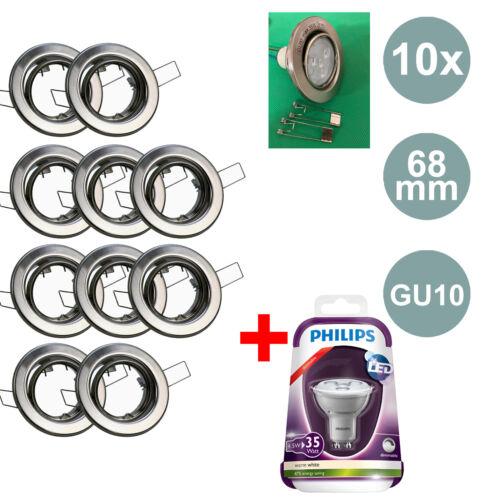 10x Einbaurahmen Fassungen GU10 Einbaulampen Spots Strahler Einbauringe Lampen