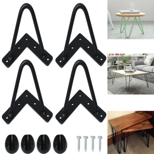 """4X Hairpin Table Legs Size 4/"""" 16/"""" 10mm with Free Floor Protector Feet UK Stock"""