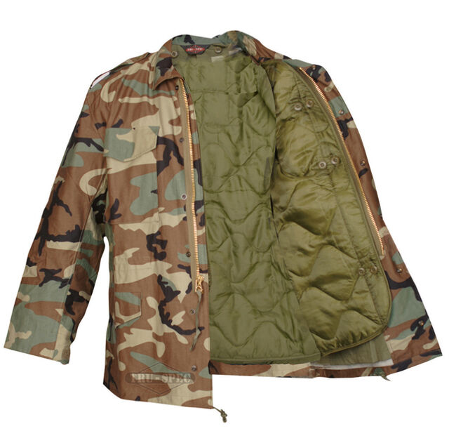 M-65 Woodland Camo Field Coat with Liner by TRU-SPEC   Water Resistant Material