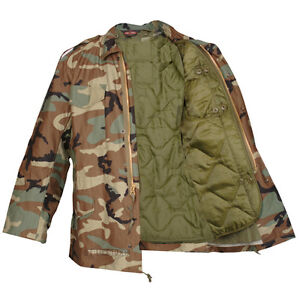 M-65 Woodland Camo Field Coat with Liner by TRU-SPEC / Water Resistant Material