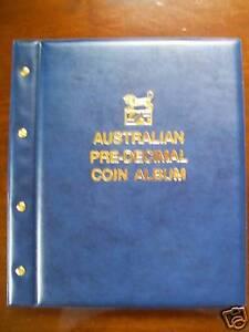 VST-AUSTRALIAN-PRE-DECIMAL-1910-1964-COIN-ALBUM-BLUE-COLOUR-Mintages-Printed