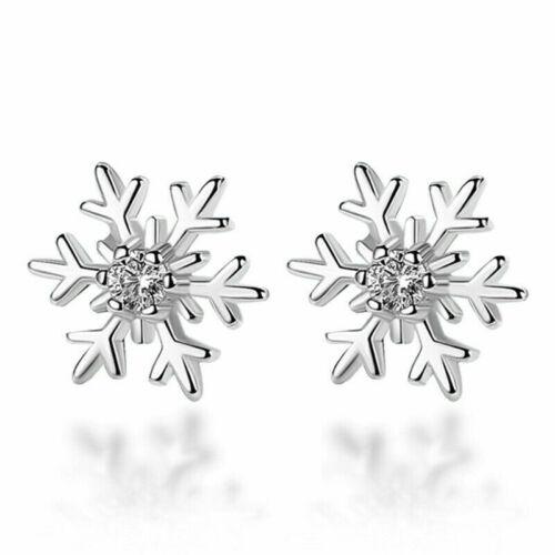 Snowflake Crystal Stud Earrings 925 Sterling Silver Women Girls Ladies Xmas Gift
