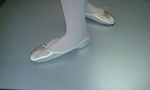 Katz White Satin Suede-sole Ballet Shoes