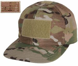 53adca6ce91 Boys MultiCam Camouflage Tactical Hat   USA Flag Patch Rothco Kids ...
