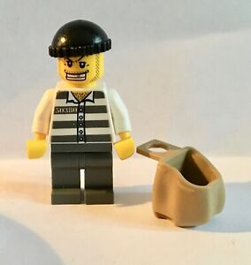 Lego Policeman /& prisoner 2 mini figures cops robber thief crook prison city new