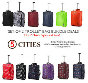Set-of-2-Twin-Easyjet-Ryanair-Carry-On-Trolley-Cabin-Bag-Hand-Luggage-Suitcases