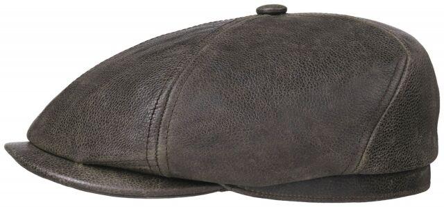 71821fbdf68 Stetson Leather Flatcap Bakerboy Cap Hat BROOKLIN 66 Brown Cowhide New Trend