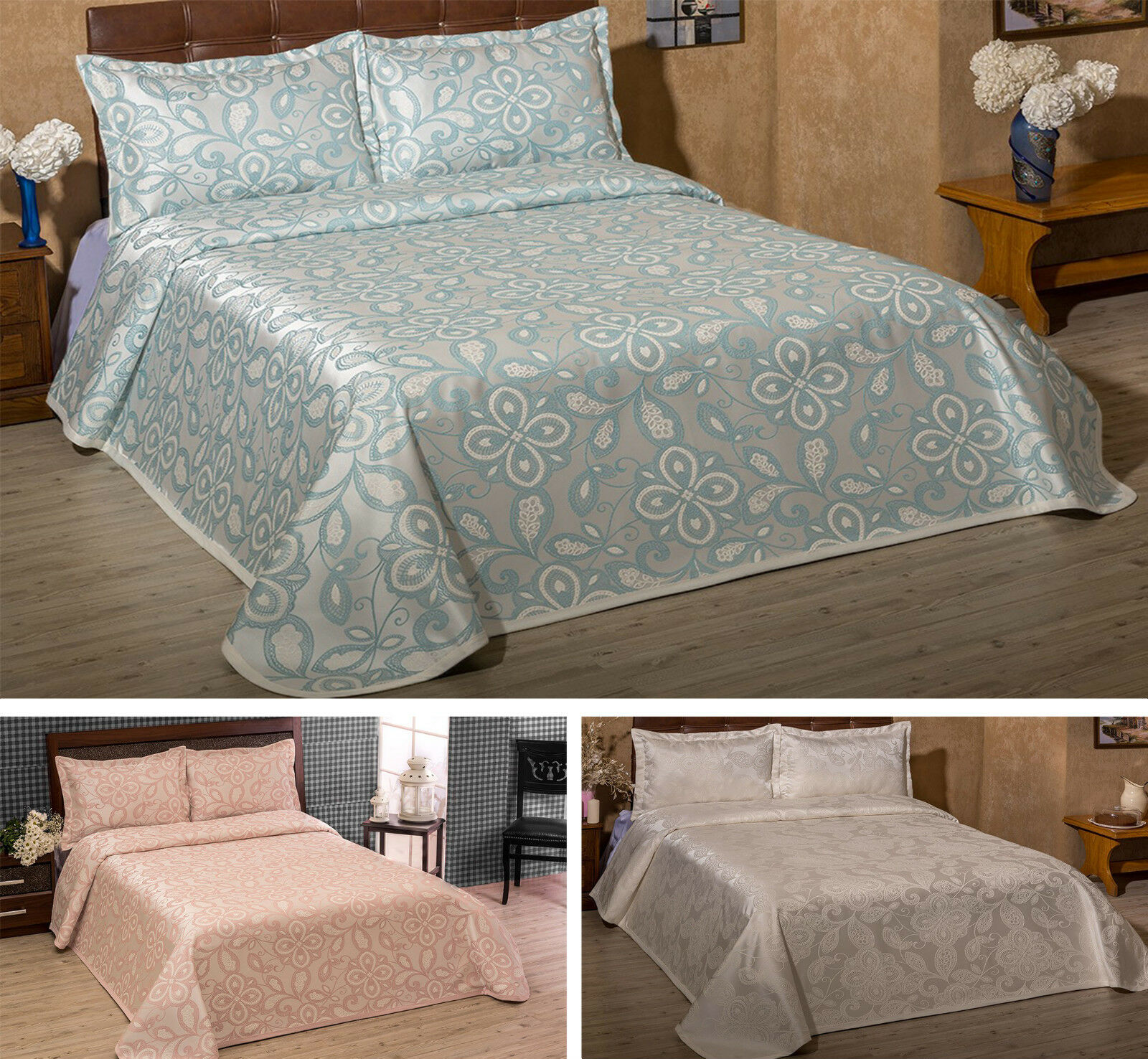 New Luxury Double Bedspread Throw, Different Colours with Two Pillow Cases Shams