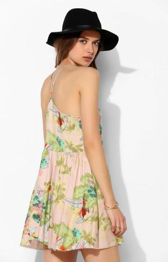 Somedays Lovin Woherren S M Backyard Geisha Mini Dress Halter Printed Raw Hem t7