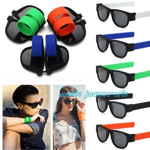 4ce464f7d7 Image is loading Slap-Polarized-Sunglasses-Creative-Wristband-Glasses-Snap- Bracelet-
