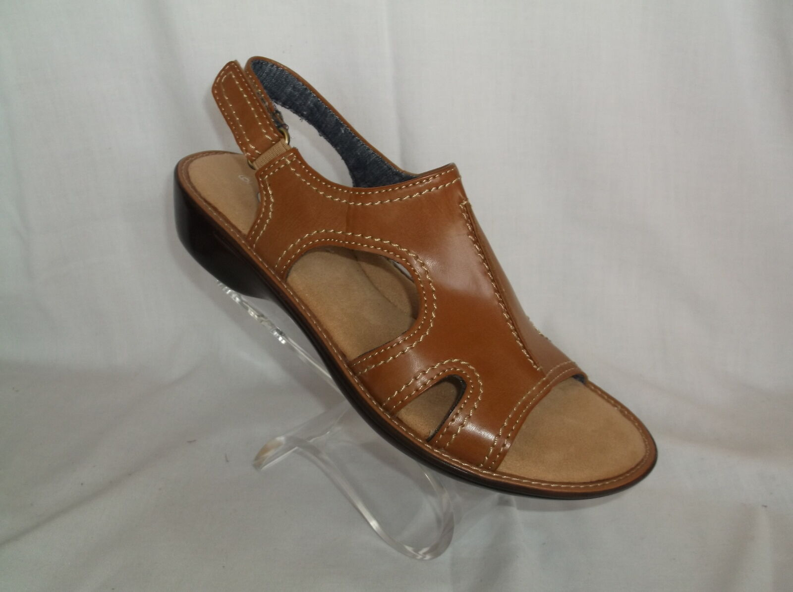 DR SCHOLL'S (ANNALEZA) TAN TOUCH CLOSURE IN PADDED FOOTBED SANDAL NEW IN CLOSURE BOX 204d00