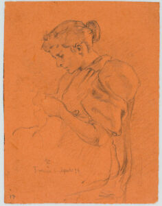 Leo-Primavesi-1871-Florentinerin-bei-der-Handarbeit-1894-Bleistift