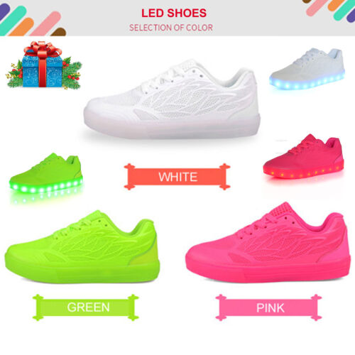 Night LightUp LED Shoes Flashing Sneakers Trainers Mesh Breathable Girls Women