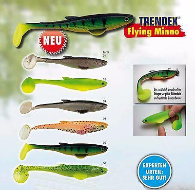 3 St Trendex Flying Minnow Gummifisch 14 cm Raubfischangeln Zander Hecht Angeln