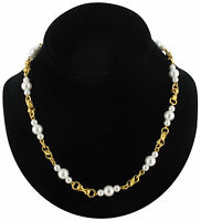 Faux Pearl Beaded Necklace Gold Tone Twist Link