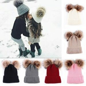 Details about Mom Newborn Baby Boy Girls Winter Warm Double Pom Bobble Knit  Beanie Hat Kid Cap 731874b3713