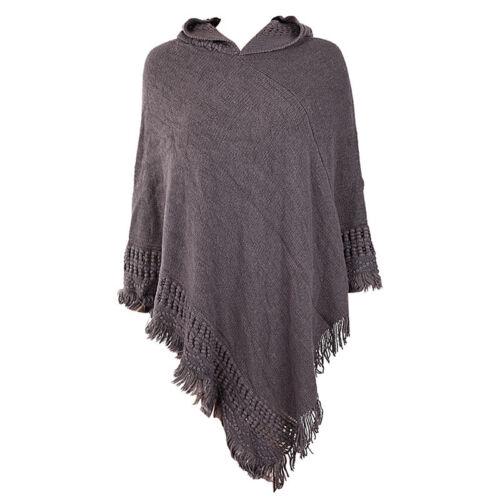 Hooded Knit Batwing Cape Poncho Cardigan Tassels Lady Warm Outwear Sweater~ RBHV