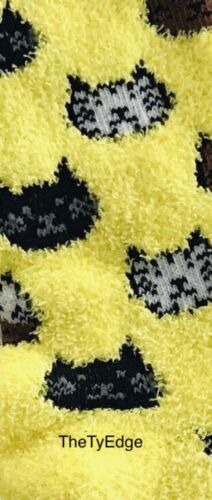 Details about  /1X Boxed Yellow w// Brown White Black Cats Novelty Crew Socks Shoe Size 4-10
