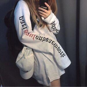 Womens-T-Shirt-Extra-Long-Sleeve-Cotton-Oversized-Korean-Ulzzang-Harajuku-M-L