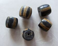 5 Large Smooth Striped Dark Brown Horn Chunky Round Barrel Beads 20x18mm