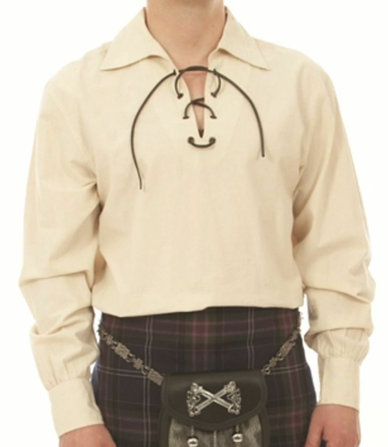 Deluxe Scottish Ghilie Jacobean Style Laced Cream Kilt Shirt 3XL Chest 48