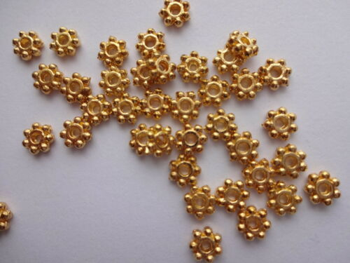 2mm thick Antiq //Bright SIlver Gold Bronze Tibetan Daisy spacer beads 100x 4mm
