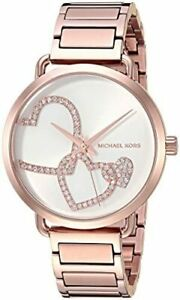 Michael-Kors-Portia-Crystals-Hearts-Rose-Gold-Tone-Fashion-Women-039-s-Watch-MK3825