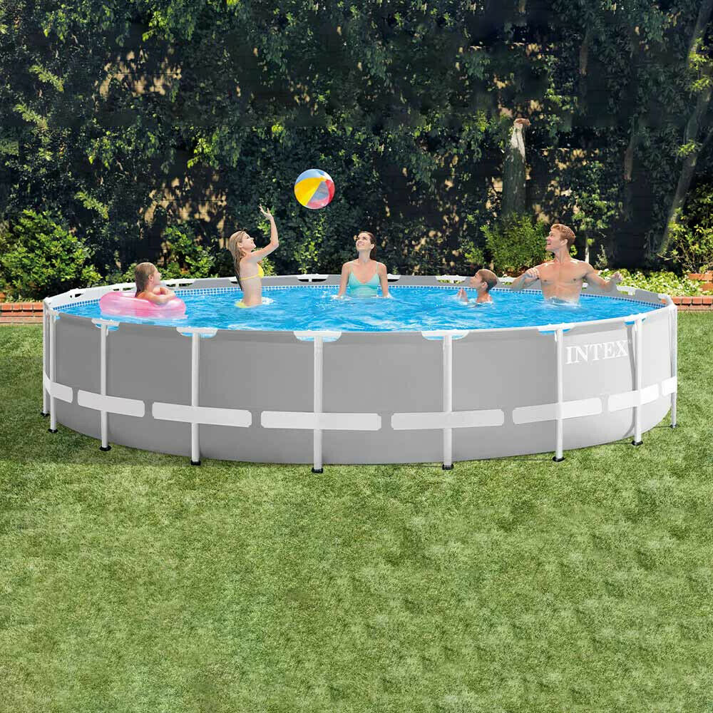 Intex 26756 Grey Prism Frame Round Above Ground Pool 20ft 610 x 132 cm Pump Set