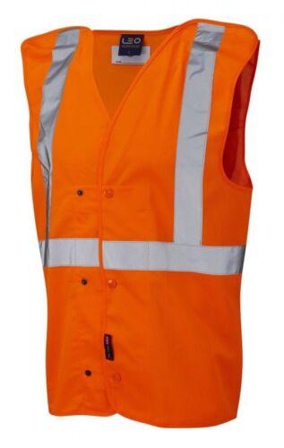 Leo W18 Chapelton Hi Viz Vis Waistcoat Rail Spec Pull Apart Vest Orange