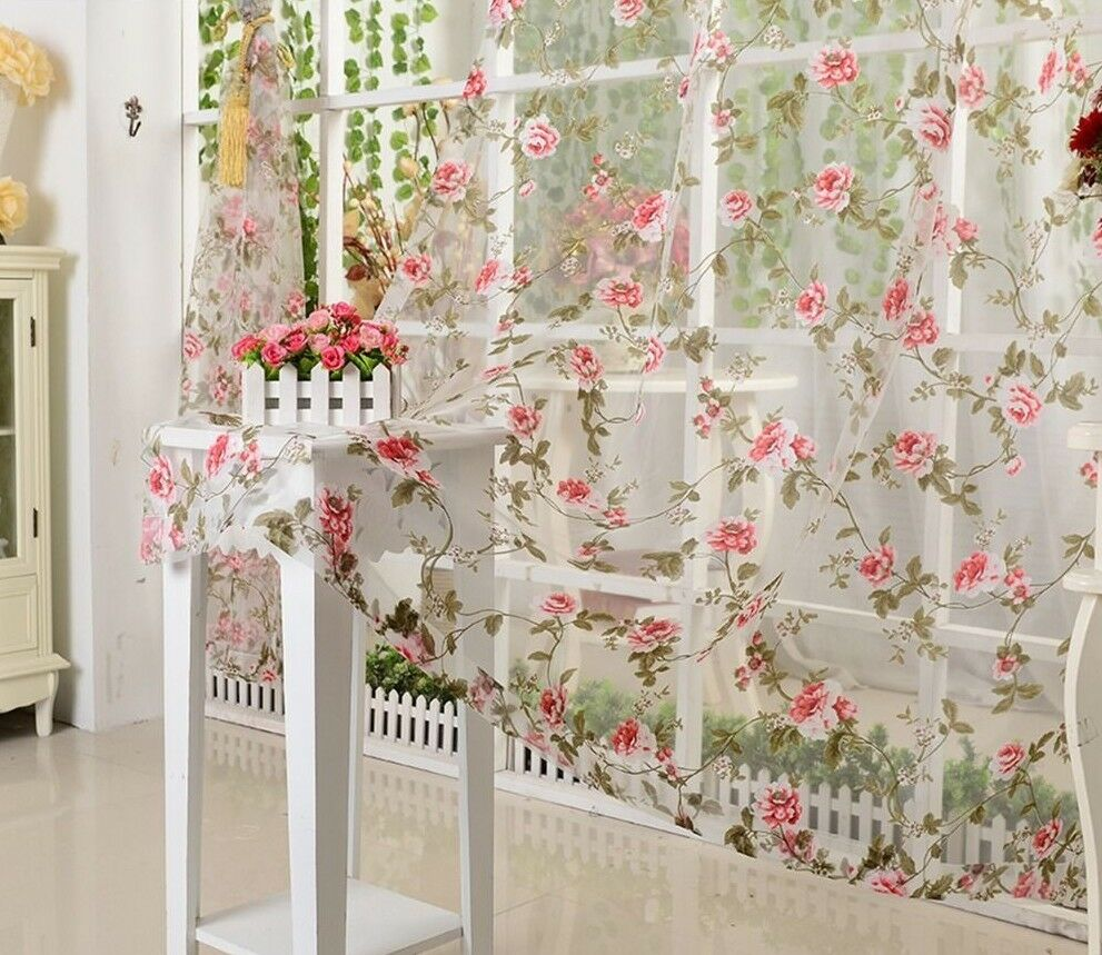 Window Curtain Voile Fabric Floral Transparent Living Room Tulle Voile Screening
