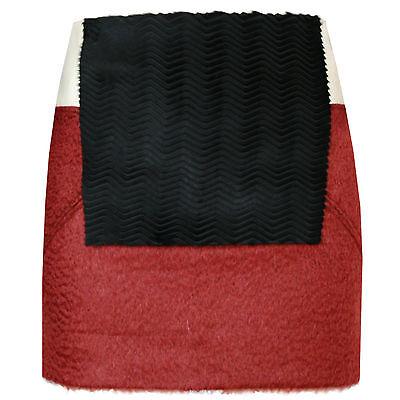 DROMe ITALY $870 kangaroo leather and fur colorblock short mini skirt S NEW