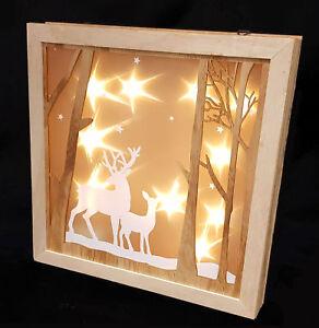 Led weihnachtsdeko rentier 30 cm holz fensterdeko beleuchtet hologramm effekt ebay - Led fensterdeko weihnachten ...