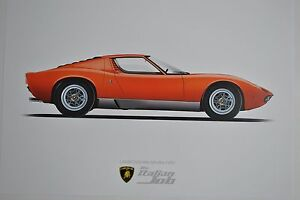 Lamborghini Miura Italian Job Film Illustration Poster A3 Artwork Car Art