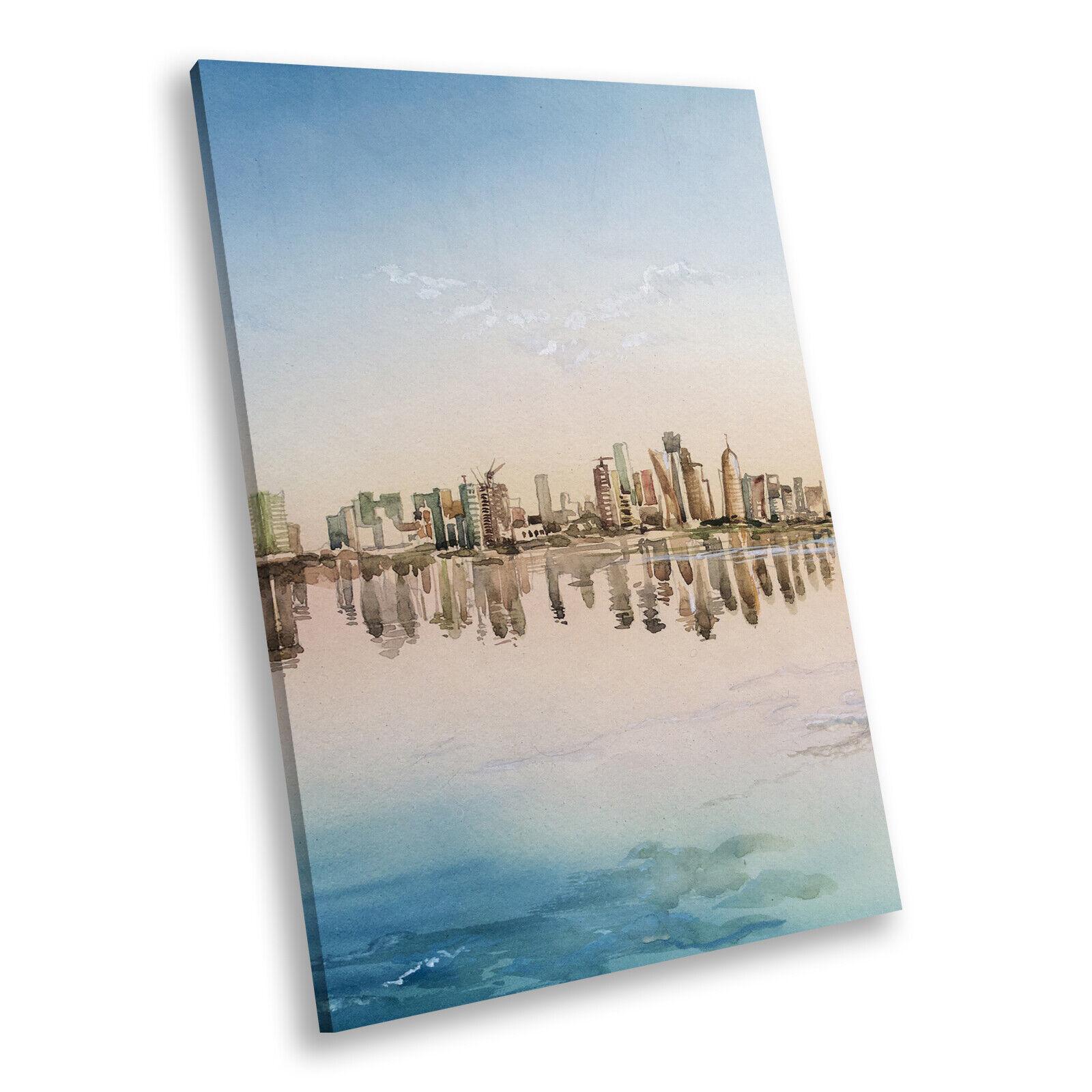 Blau Gelb City Skyline Portrait Scenic Canvas Wall Art Picture Prints