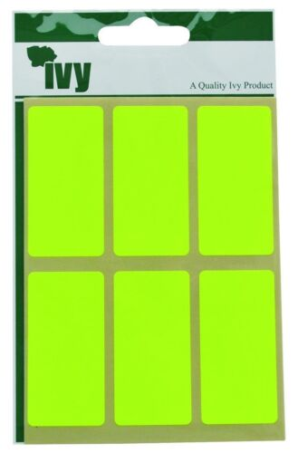 IVY Fluorescent Yellow Label Stickers Sticky Self Adhesive 25x50mm Rectangle