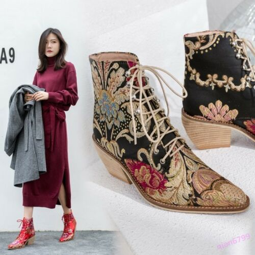 Women/'s Ankle Boots Block Cuban Heel Lace Up Pointy Toe Flower Embroidery New