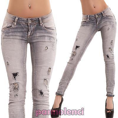 Bene Jeans Donna Pantaloni Elastici Aderenti Slim Skinny Strass Strappi Nuovi D11087