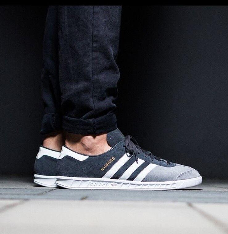 Adidas Hamburg Men 9.5 +RARE+ 2 Tone Grey Suede White Stripe NEW spezial samba