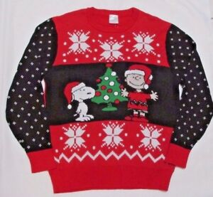 Peanuts Charlie Brown Snoopy Ugly Christmas Sweatersmallnwt
