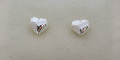 925 Sterling Silver Polished  Puffed LOVE HEART Small Stud Earrings