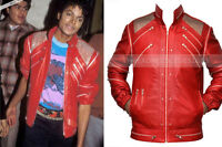 Men's BEAT IT Red Gold Michael Jackson Music Real Sheep Leather Jacket