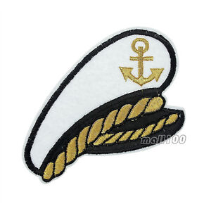 b1ee212515ce9 Sea Ship Captain Hat Patch Yacht Boat Embroidered Iron On Sew On ...