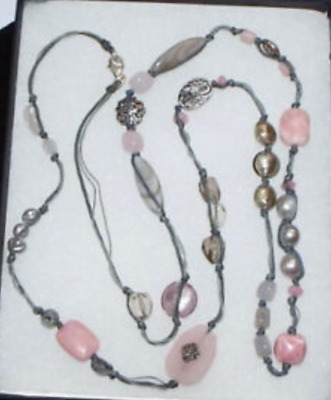 """Silpada Sterling Silver Pearl Pink Soapstone 40/"""" Long Necklace N2191 $116  WOW!"""
