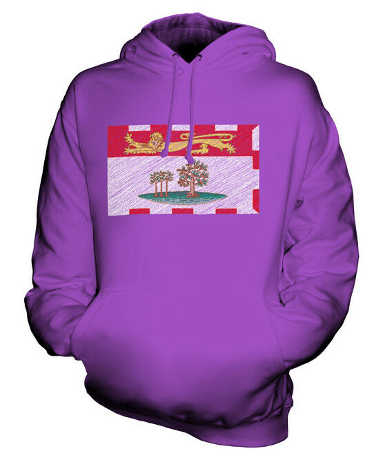 PRINCE EDWARD ISLAND STATE SCRIBBLE FLAG UNISEX HOODIE TOP GIFT P.E.I. FOOTBALL