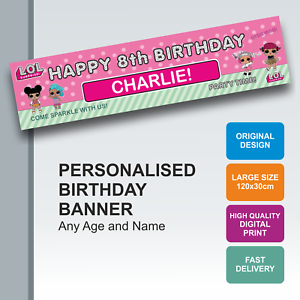 Details about Personalised LOL Surprise Birthday Banner - Name with any Age  - D069