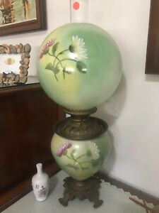 RARE-HAND-PAINTED-Gone-with-the-Wind-Oil-Lamp-Blown-Out-Base-Parlor-Victorian